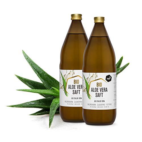 nu3 Bio Aloe Vera Saft - 2L in Glasflasche - Pflanzensaft aus den inneren Blattfilets - Reiner Saft aus biologischem Anbau - Unverdünnt & Vegan -