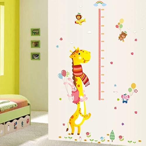 KPOIYRL Bande Dessinée Grandir Hauteur Mesurer Règle Pépinière Enfants Chambre d'enfants Vinyle Amovible Tuile Porte Stickers Muraux Decal Décor Mural