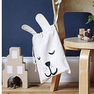 Gamloious Rabbit ears Cartoon Storage Bags Children shoulder bag with rope sundries books storage bag Home Storage & Organization