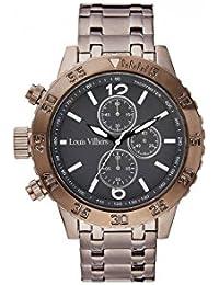 Reloj hombre Louis Villiers reloj 48 mm de acero negro y brazalete gris en acero lv1024