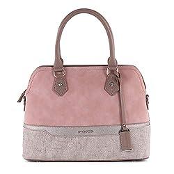 David Jones - Damen Handtasche - Nubuk Paillette Saffiano Leder - Bugatti Tasche - Multicolor Damentasche - Henkeltasche mit extra langem Riem - Schultertasche - Stilvoll und Elegant (Pink)