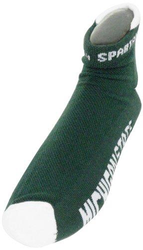 Donegal Bay NCAA Michigan State Spartans Herren Footie Socken, Grün/Weiß (Michigan State University Shorts)