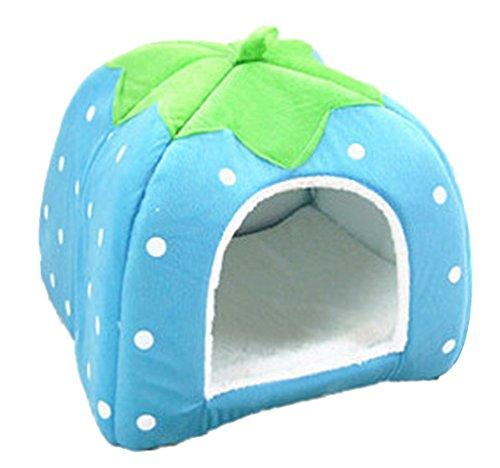 Yiiquan animale fragole nido casa del cane e gatto domestico canile cuccia morbida (blu, asia s)