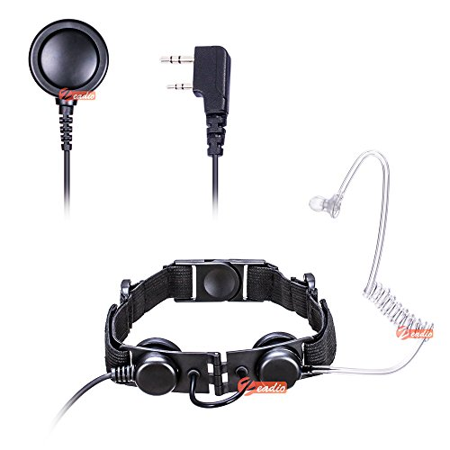 Zeadio Auricular Tactical Laryngophone - Heavy Duty Garganta Mic Covert Tubo acústico con micrófono Dedo PTT para 2 Pin Kenwood Baofeng HYT WOUXUN PUXING QUANSHENG Radio