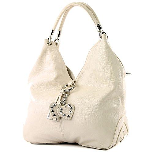 modamoda de - 330 - ital Handtasche Shopper Schultertasche Leder, Farbe:Creme -