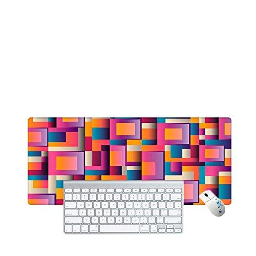 Haofengjing Mauspad Quadratisches Bild Lindert Die Ermüdung Der Augen. Gaming Mouse Mat Schreibtischunterlage, Größe 900X400Mm, Rutschfeste Gummiunterseite Mit Genähten Kanten Für Computer, Pc U (Bild Mat Quadratisches)