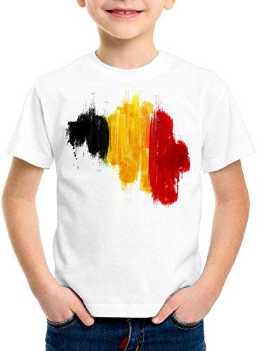 CottonCloud Flagge Belgien Kinder T-Shirt Fußball Sport Belgium WM EM Fahne, Farbe:Weiß, Größe:152