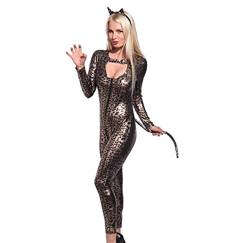 (Jumpsuit Latex Schwarz Sexy Dessous Female Erotic Kunstleder Catsuit PVC Bodysuit Vorderreißverschluss Open Crotch Pole Dance Clubwear)