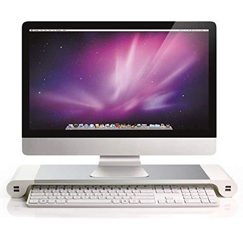 YWT Aluminiumständer für iMac mit Tastatur- und Mausspeicher und 4 USB-Ladeanschlüssen für Laptops MacBook iMac PC usw. (Weiß)