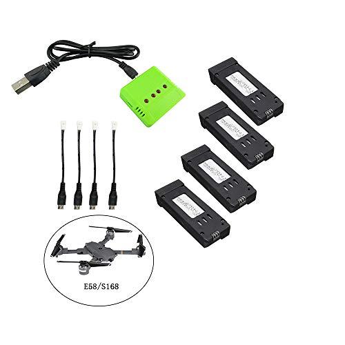 Fstoption 4pcs 3.7v 500mah Batteria e Caricabatterie per E58 S168 WiFi RC Quadcopter Drone Ricambi (4pcs Batterie RC)