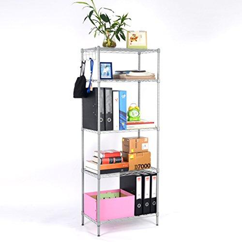 LANGRIA 5 Tier Modern Storage Organization Rack and Shelving Unit 275 lb Capacity, Silver