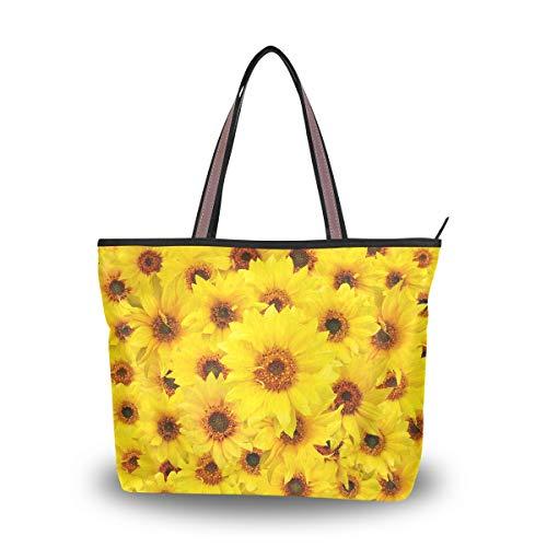 Emoya Handtasche mit gelben Sonnenblumen, Schultertasche, Hobo-Tragegriff, Größe L, Mehrfarbig - multi - Größe: Large - Gelbe Hobo Handtasche
