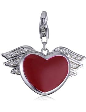 Esprit Damen-Charm 925 Sterling Silber rhodiniert Kristall Zirkonia Hearty Angel weiß ESCH90881A000
