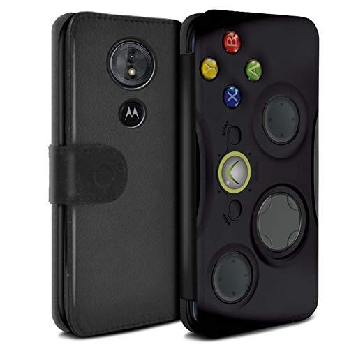 eSwish PU Pelle Custodia/Cover/Caso/Portafoglio per Motorola Moto G6 Play 2018 / Xbox 360 Nera/Console di Gioco Disegno