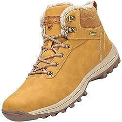 Mishansha Mujer Hombre Botas para Invierno con Forro de Piel Cálidas Zapatos para Caminar Senderismo y Trekking - Calentitas Cómodas Antideslizantes(Amarillo, 39 EU)