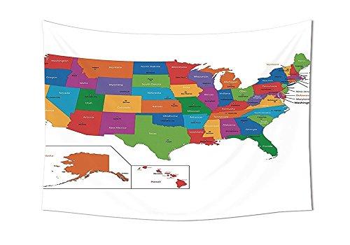 Washington-antik-karte (Wanderlust Decor Kollektion Colorful USA Karte mit und Hauptstadt Städte Washington Florida Indiana Schlafzimmer Wohnzimmer Wohnheim Wand Gobelin Multi Farbe, mehrfarbig, 59W By 51.1L Inch)