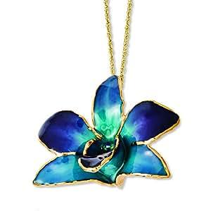 Con rifiniture laccate oro decorato, colore: Viola orchidea Dendrobium Collana, lunghezza 20 cm, JewelryWeb