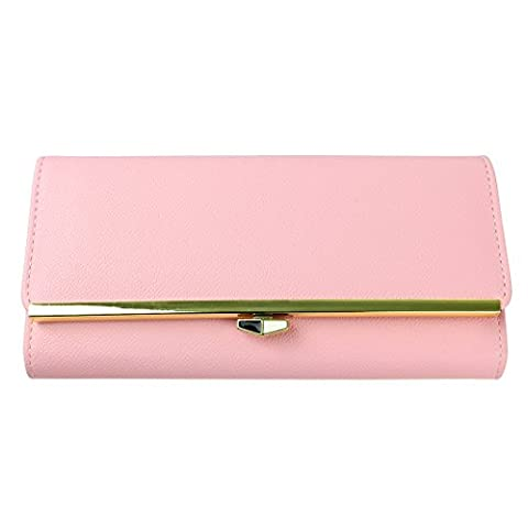 Womens Leather Wallet, Rosa Schleife Universal Functional Ladies Girls Mobile Phone Purse Multifunctional Envelope Zipper Wallet Phone Bags Case Cover with Wrist Hand Strap Credit Card Slots Phone Holder Long Style Pouch Bag for Apple/Samsung/Huawei/Sony/LG Smartphone (less than