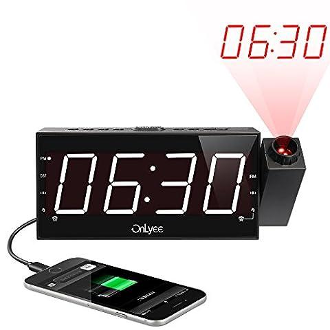 """OnLyee 1,8""""LED Dimmbarer Projektion Dual-Wecker mit FM Radio und USB Aufladefunktion, Batterie-Backup, Sleep-Timer und Snooze Funktion"""