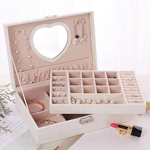 Schmuck Aufbewahrungsbox Holzschloss Schmuckschatulle Halskette Box Armband Uhrenbox Frauen Urlaub Geschenk (Farbe : Weiß) ()
