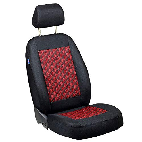 Zakschneider Coprisedile per 9-3 93 - Coprisedile Anteriore Sedile del Conducente - Colore Premium Nero Effetto 3D Rosso