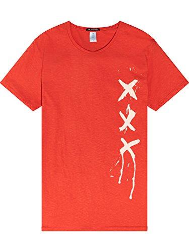 Scotch & Soda Herren T-Shirt Ams Blauw Signature Tee with Bold Graphics Orange (Japan Sun 1748)