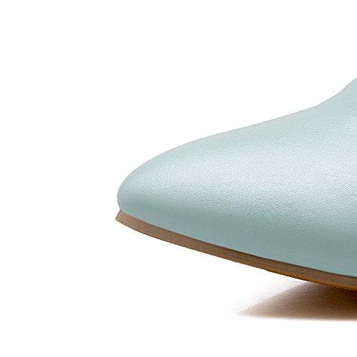 VogueZone009 Femme à Talon Correct Mosaïque Boucle Matière Souple Pointu Chaussures Légeres Bleu