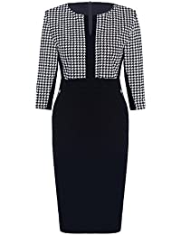 Womdee(TM) Women Formal Houndstooth-Print 2/3 Sleeve Scoop Neck Business Pencil Dress