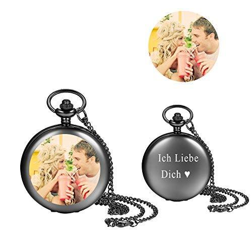 LANCARDO Taschenuhr Vintage Herren Damen Uhr Analog mit Kette Weihnachten Geschenk egv-074