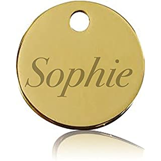 Engraved Pet ID Tag - suitable for Cats and Dogs of All Sizes - High Quality Solid Round Brass Pet ID Tag with Strong Split Pin - Personalised by Pocket Gift with Deep Engraving and Hand Finished