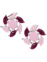 d396f076c Mahi Rhodium Plated Enchanting mint pink and red crystals stud earrings for  girls and women ER1109544R