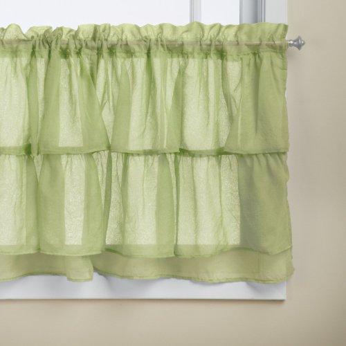 Lothringen Home Fashions Gypsy Shabby Chic Layered Rüsche Fenster Vorhang Panel, grün, Tier 60