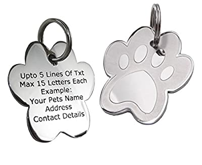 PawGear Pet ID Tags Personalised Engraved Polished Stainless Steel Paw Dog Cat from Yabba Dabba Doo Ltd