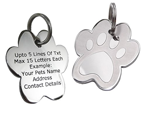 Pet-ID-Tags-Personalised-Engraved-Polished-Stainless-Steel-Paw-Dog-Cat-PawGear