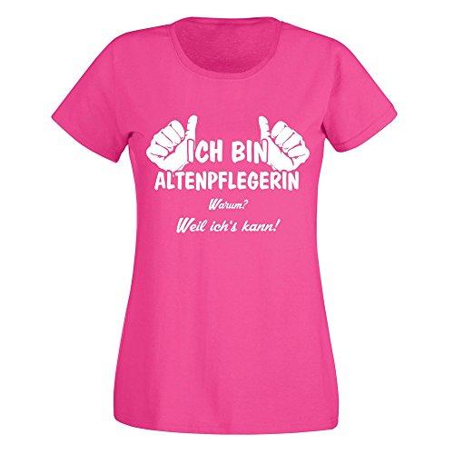 Damen T-Shirt - Ich bin Altenpflegerin - von SHIRT DEPARTMENT schwarz-weiss