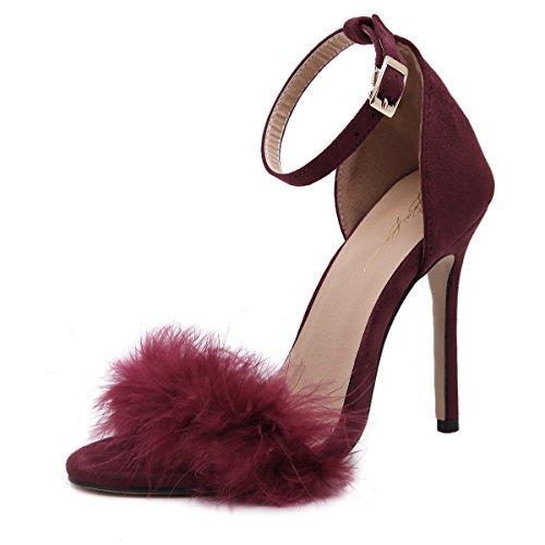 Shoemaker's heart 20Shoemaker's heart7 L Europa e l America Super tacco alto scarpe sexy sexy sandali vino rosso Thirty-five
