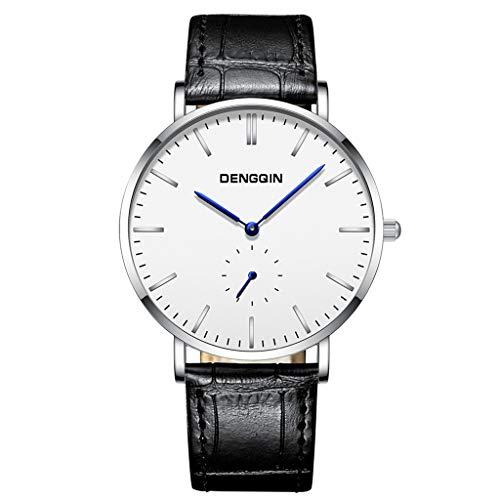 LABIUO Uhren für Männer, Herren Luxus Mode Edelstahl Casual Minimalist Chronograph Quarz-Armbanduhr mit PU Lederband(C,Einheitsgröße)