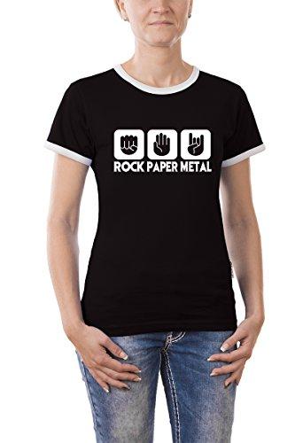 Touchlines Damen  Kontrast T-Shirt Stein Papier Rock  Heavy Metal Girlie Ringer, black, XL, B9305 (Art-damen-ringer)