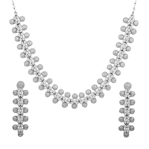 Touchstone Hollywood Glamour beautiful grain work white crystals jewelry necklace set in silver tone for women (Touchstone Crystal Schmuck)