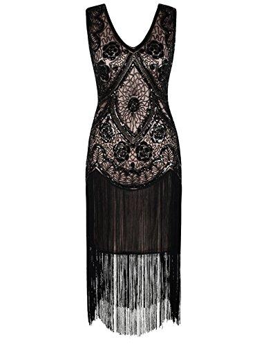 Kayamiya Damen Vintage 1920er V-Ausschnitt Pailletten Perlen Floral Flapper Gatsby Kleid XL Schwarz Beige