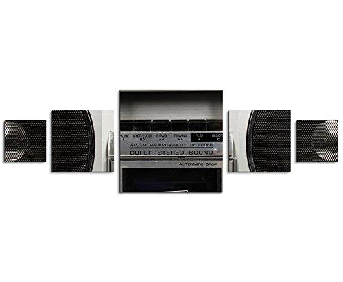 Sinus Art Wandbild 5 teilig 160x50cm - Künstlerische Fotografie – Retro Ghetto Blaster