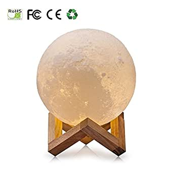3D Moon Lampe, USB LED Night Light Lampe de table lunaire magique Moonlight Gift Capteur tactile à deux tons avec support en bois (10cm/3.94in)