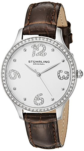 Stuhrling Original Chic–Reloj de cuarzo para mujer con plata esfera analógica pantalla y correa de piel color marrón 560.01