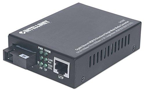 Intellinet Gigabit Ethernet WDM bidirektionaler Singlemode Medienkonverter 10/100/1000Base-TX auf 1000Base-LX (SC) Singlemode 20 km WDM (RX1550/TX1310) schwarz 545068 (Media Konverter Single-mode Sc)