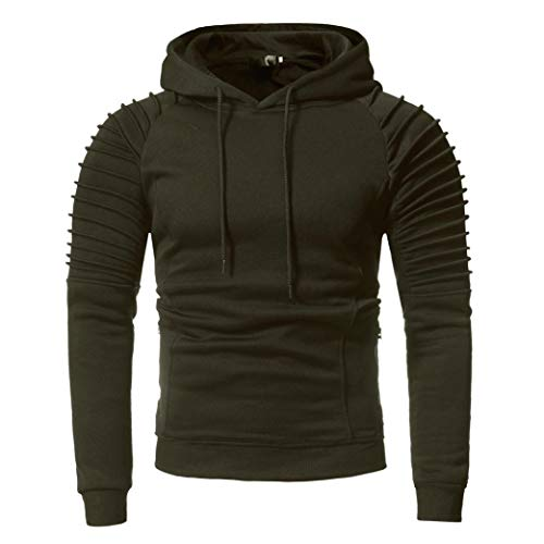 Männer Herbst und Winter Einfarbig Mit Kapuze Lässige lange Ärmel Mantel Herren Langarm Casual Hoodies Top Bluse Trainingsanzüge-Sweatshirt Oberteil- Sweatjacke Pullover Langarmshirts(Army Greem,L)