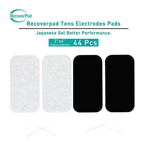 RecoverPad 44pcs 50x100mm Profesional TENS Electrodos,3rd Gel japonés Sin látex Electrodos(CE/FDA Aprobado),Mejor desempeño autoadherente para electroestimuladores TENS EMS