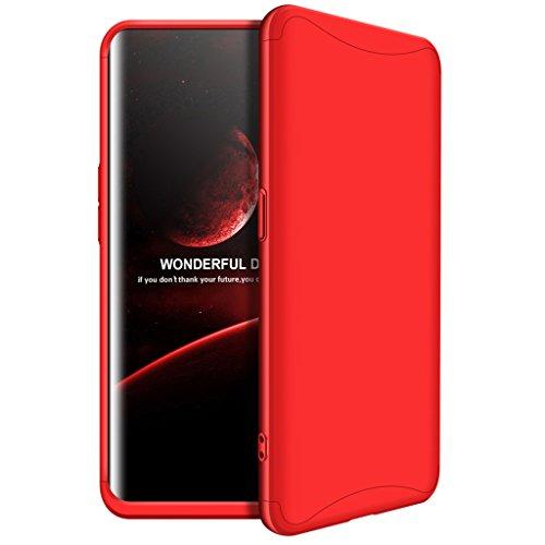 Oppo Find X Hülle, Ultra Dünn 3 in 1 Abnehmbare Anti-Kratzer Hart PC Handyhülle, 360° Full Body Stoßfest Schutzhülle für Oppo Find X (Rot)