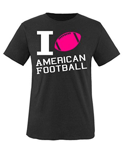 Comedy Shirts - I Love American Football - Mädchen T-Shirt - Schwarz/Weiss-Pink Gr. 152/164