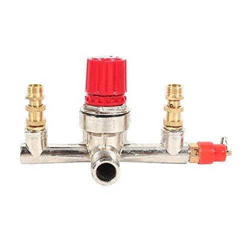 Ventil Anpassungsstück für Druckregler Druckschalter Luftkompressor mit Doppelausgang, Legierung