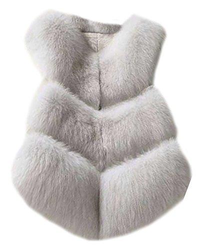 Donna spigato Slim Gilet Cappotto Senza Maniche Splicing Outwear Elegante e Affascinante Bianco